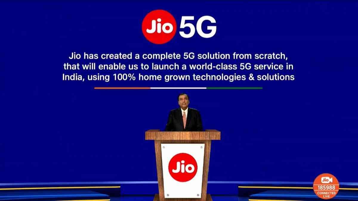 Jio 5G 100% made in India technologies and solutions.
