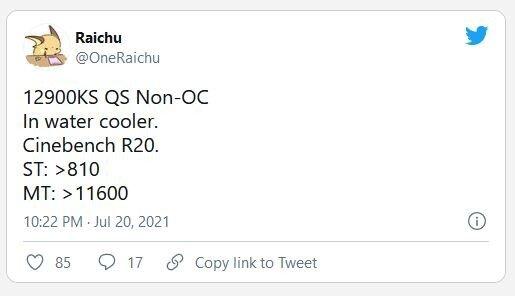 OneRaichu tweet of Core i9-12900K benchmarks