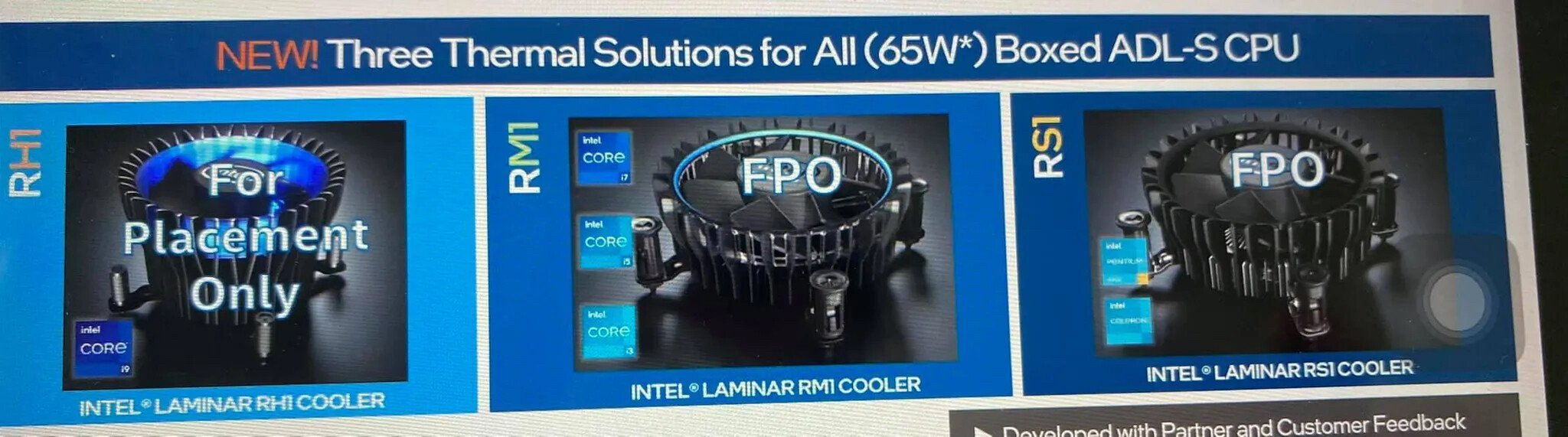 Intel Three new thermal solutions for Alder Lake